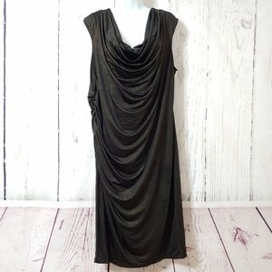 Avenue Black & Gold Shimmer Draped Ruched Dress